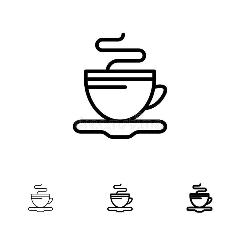 Linha preta corajosa e fina grupo do chá, do copo, do café, do hotel do ícone ilustração royalty free