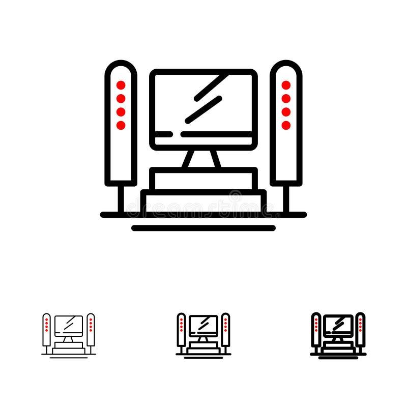 Linha preta corajosa e fina grupo do computador, da computação, do servidor, do processador central do ícone ilustração do vetor