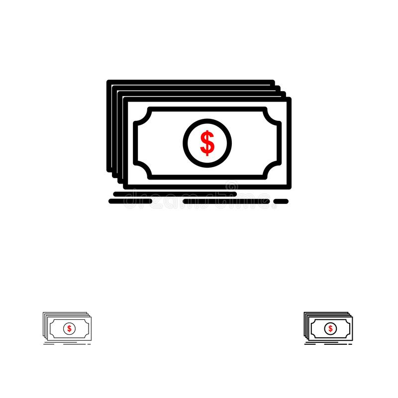 Linha preta corajosa e fina grupo do dinheiro, do fundo, da transferência, do dólar do ícone ilustração do vetor