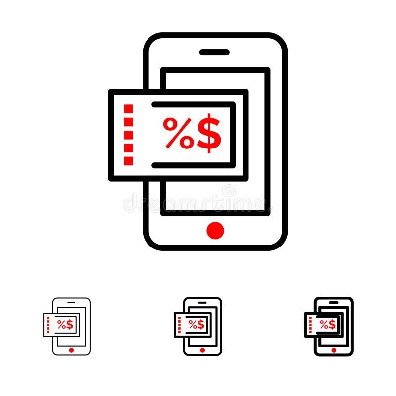 Linha preta corajosa e fina grupo do móbil, da compra, do desconto do ícone ilustração do vetor