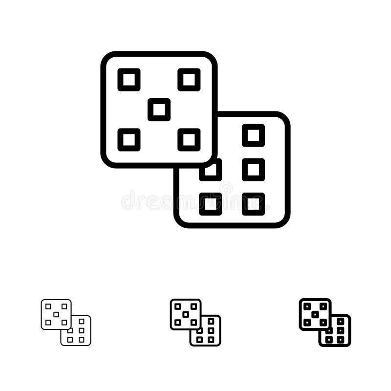 Linha preta corajosa e fina grupo dos dados, do jogo, da probabilidade do ícone ilustração stock