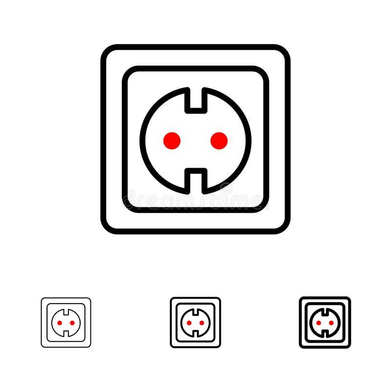 Linha preta corajosa e fina grupo elétrica, da energia, da tomada, da fonte de alimentação, do soquete do ícone ilustração stock