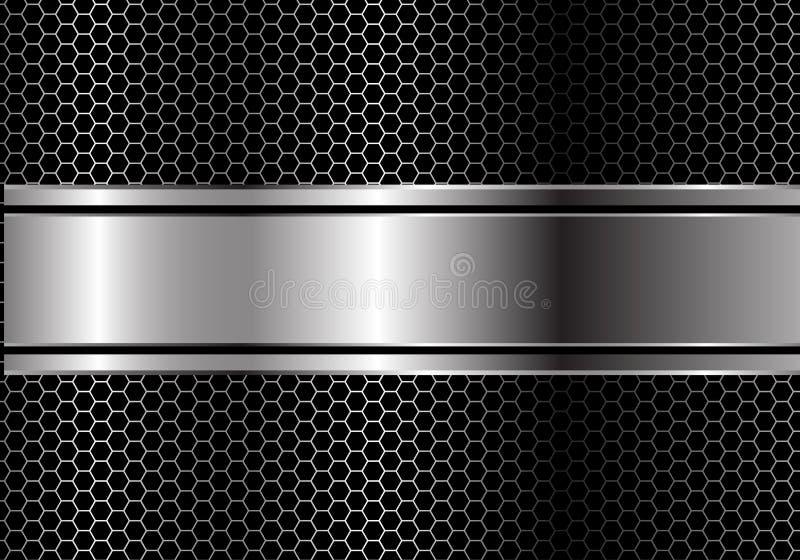 Linha preta de prata abstrata sobreposição da bandeira no vetor futurista luxuoso moderno do fundo do projeto da malha do hexágon ilustração stock