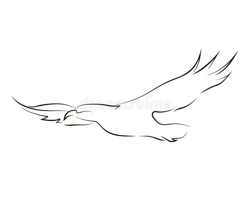 Linha preta de voo águia ilustração royalty free