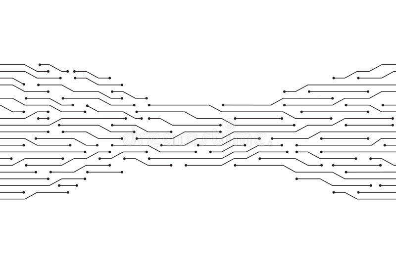 Linha preta do circuito no projeto branco da tecnologia do vetor do fundo ilustração royalty free