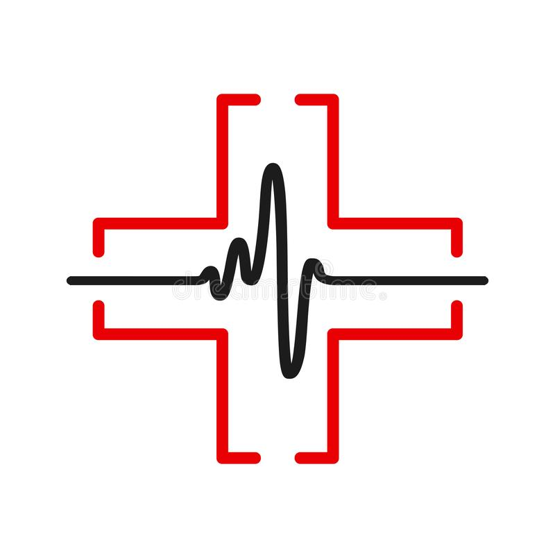 Linha preta do pulso um do coração, sinal do cardiograma, pulsação do coração - vetor ilustração royalty free