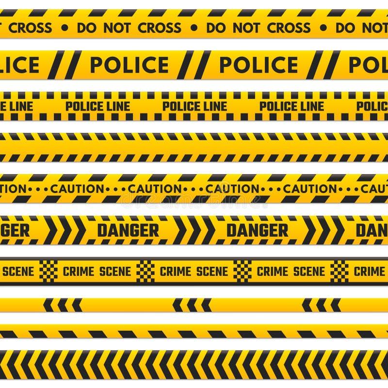 A linha preta e amarela da polícia não se cruza Limite da barricada isolado pela fita do perigo Listras da barreira da cena do cr ilustração do vetor