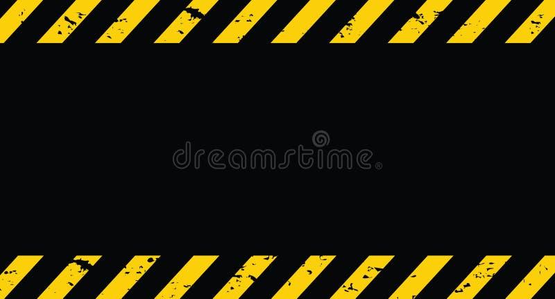 Linha preta e amarela listrada Sob o fundo do grunge da constru??o Vetor ilustração do vetor