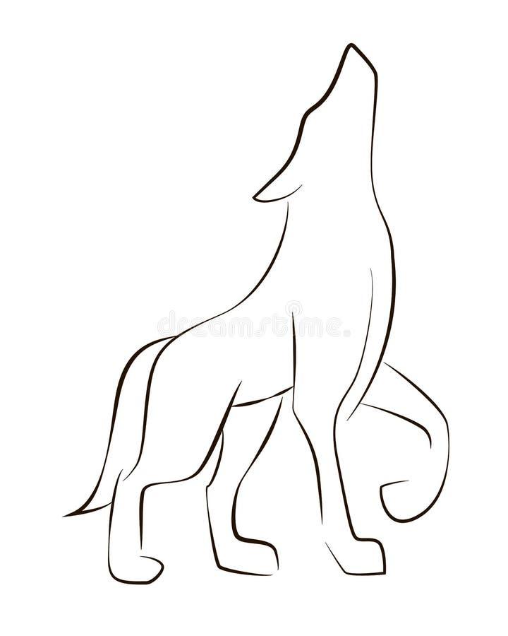 Linha preta ereta lobo no fundo branco ilustração royalty free