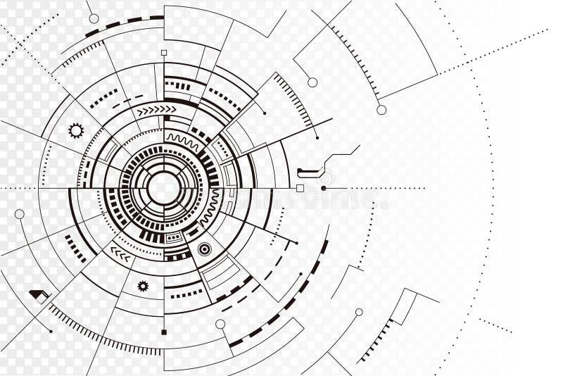 Linha preta fundo da tecnologia do sumário da silhueta ilustração do vetor