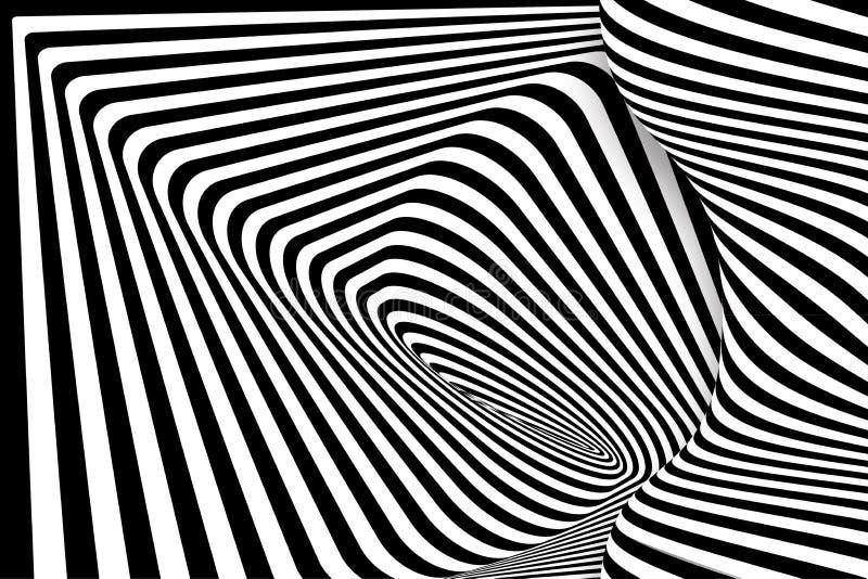 Linha preta ilusão do branco 3d da distorção ilustração royalty free
