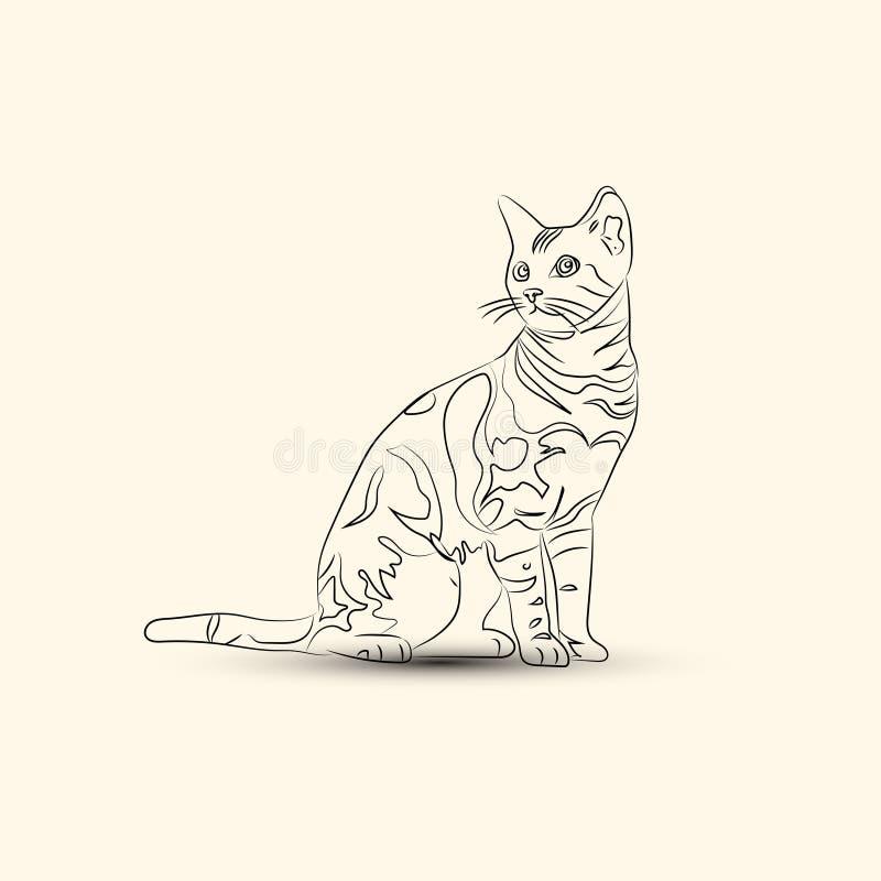 Linha preta logotipo do gato ilustração do vetor