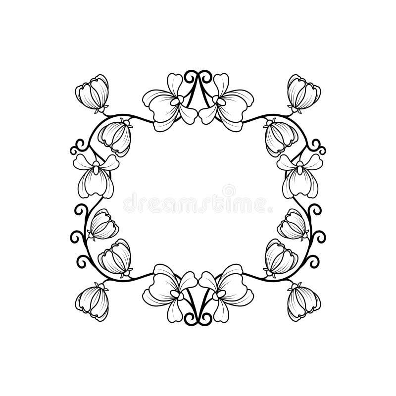 Linha preta quadro com flores ilustração stock