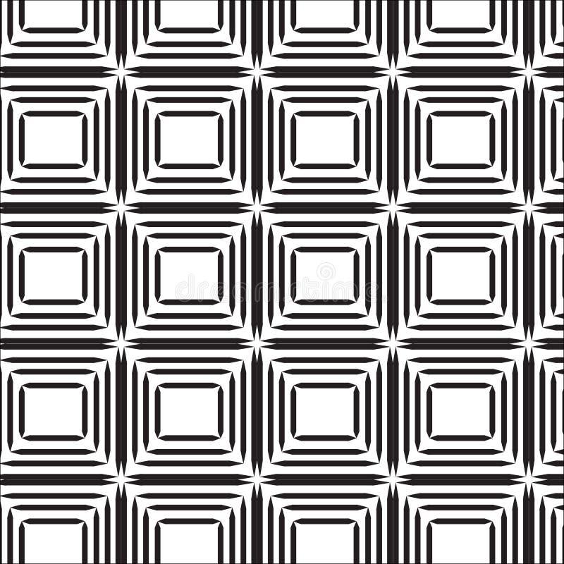Linha preta sem emenda teste padrão do sumário do quadrado com fundo branco ilustração stock