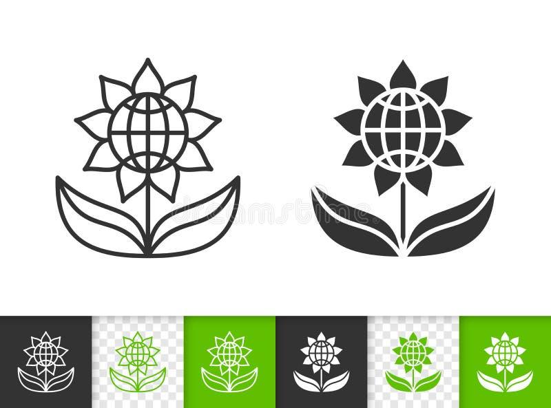Linha preta simples ícone da flor do vetor ilustração stock