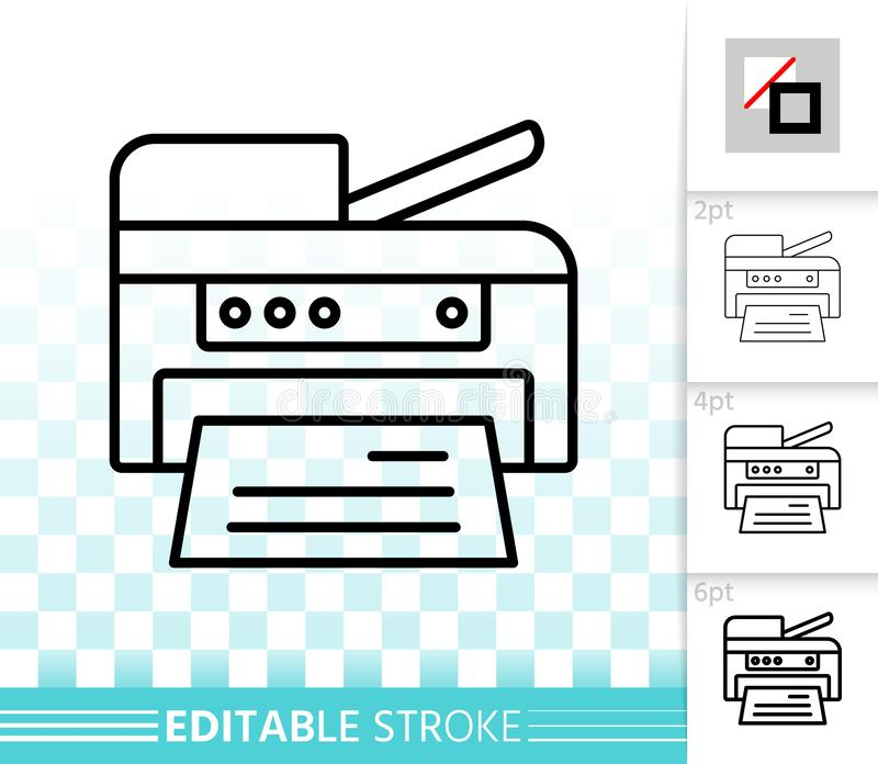 Linha preta simples ícone da impressora do vetor ilustração stock