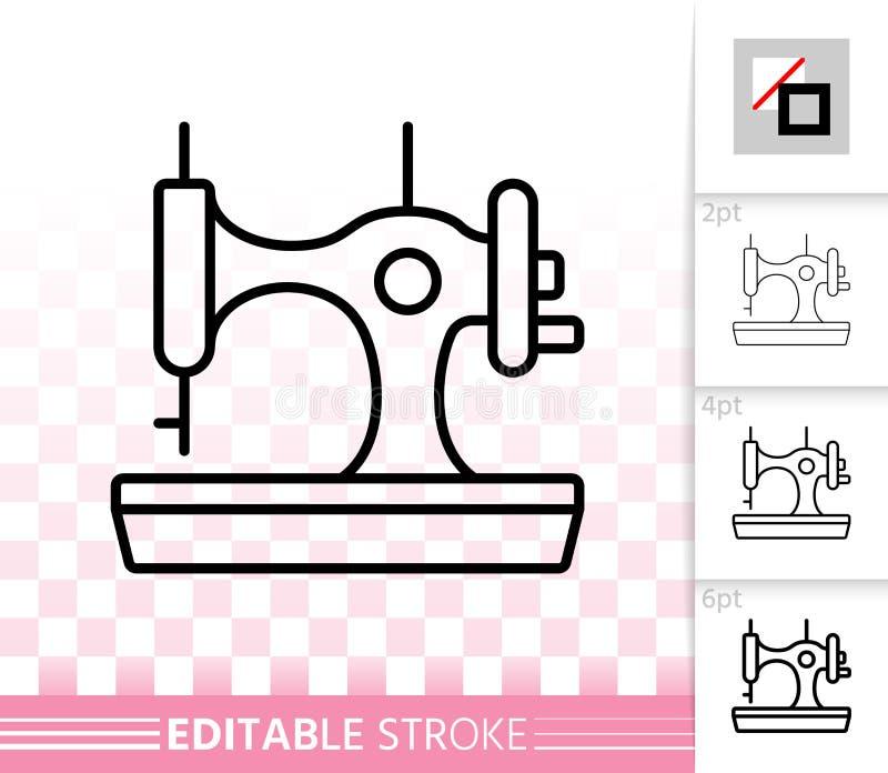 Linha preta simples ícone da máquina de costura do vetor ilustração do vetor