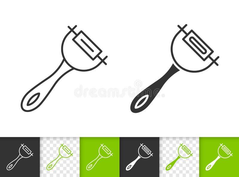 Linha preta simples ícone de Peeler do vetor ilustração do vetor