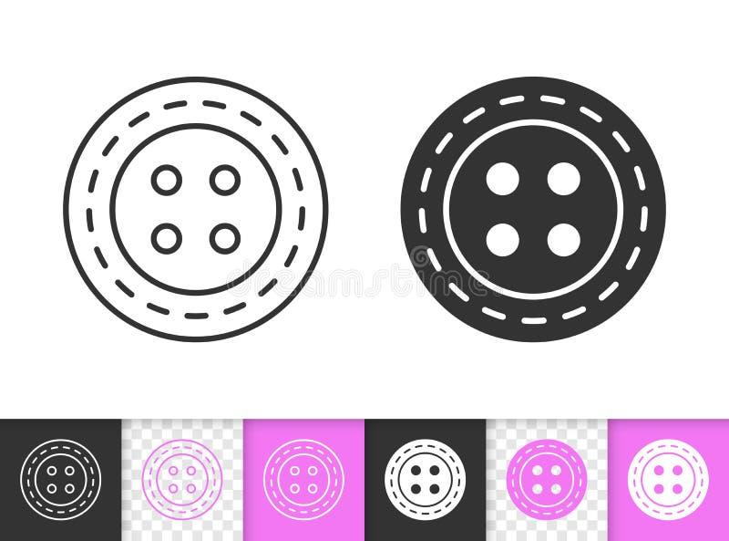 Linha preta simples ícone do botão da costura do vetor ilustração stock
