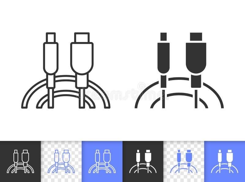 Linha preta simples ícone do cabo do Usb do vetor ilustração do vetor