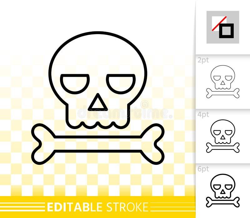 Linha preta simples ícone do crânio do vetor do sinal do Dia das Bruxas ilustração stock