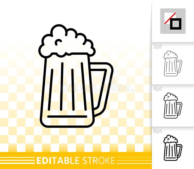Linha preta simples ícone do jarro da caneca de cerveja do vetor da barra do bar ilustração do vetor