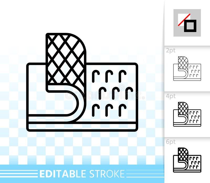 Linha preta simples ícone do prendedor de Velcro do vetor ilustração stock