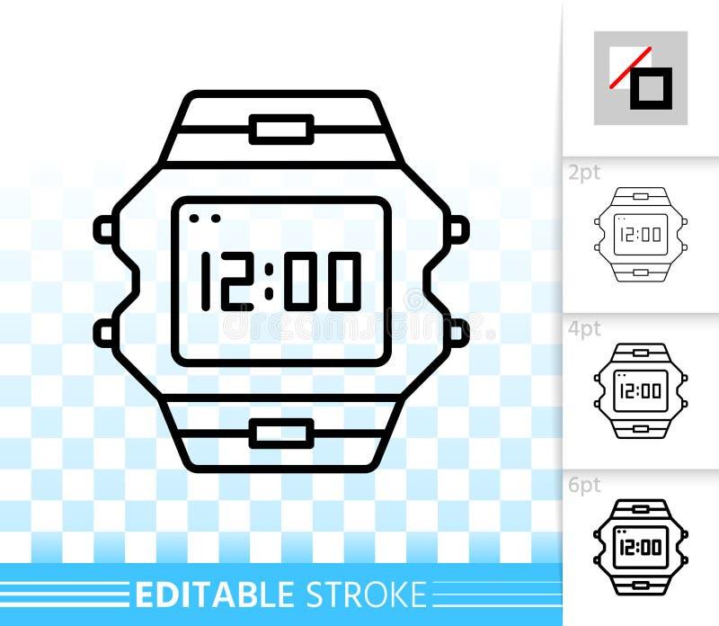 Linha preta simples ícone do relógio de pulso do vetor ilustração do vetor