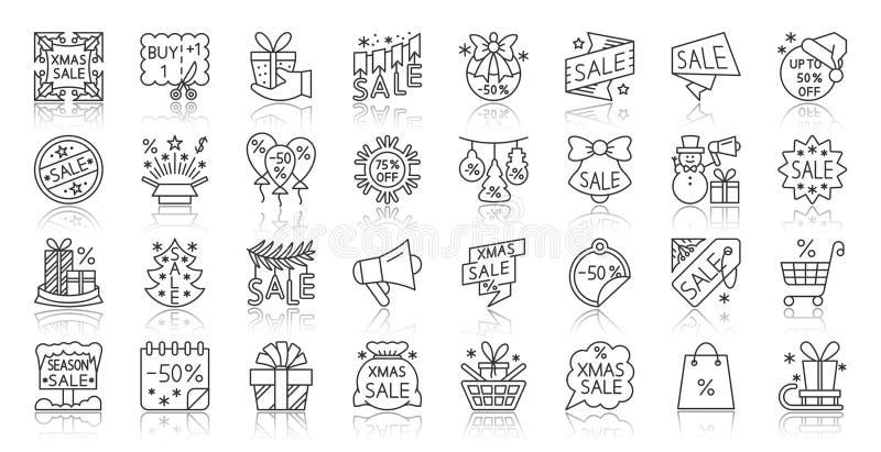 A linha preta simples ícones da venda super etiqueta o grupo do vetor ilustração do vetor