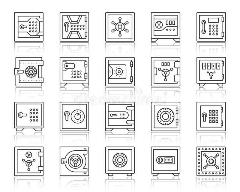 Linha preta simples grupo da pilha segura do banco do vetor dos ícones ilustração royalty free