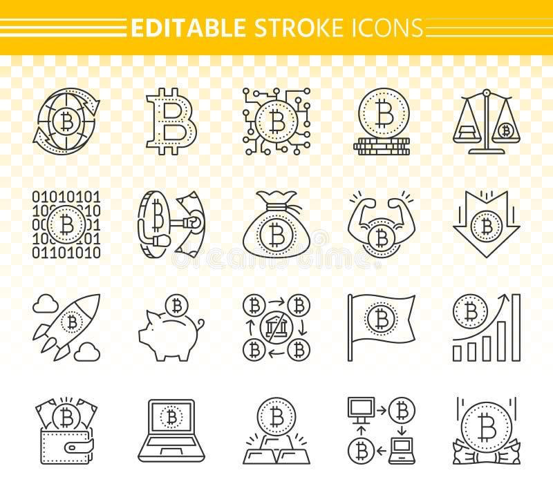 Linha preta simples grupo de Bitcoin do vetor dos ícones ilustração do vetor