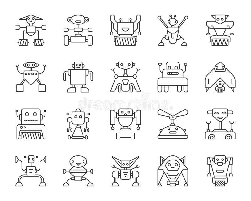 Linha preta simples grupo do robô do vetor dos ícones ilustração do vetor