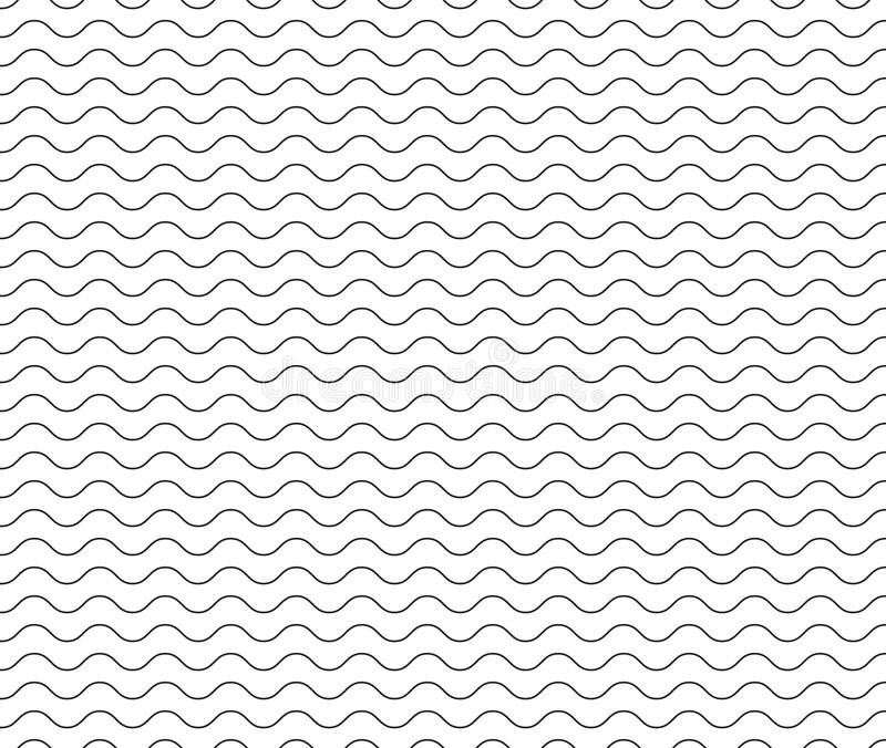 Linha preta teste padrão da onda linha ondulada sem emenda preta fundo ilustração do vetor