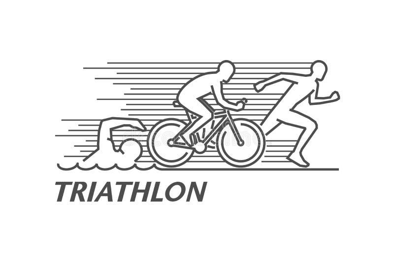 Linha preta triathlon do vetor do logotipo ilustração do vetor