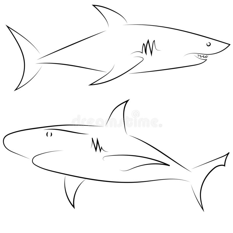 Linha preta tubarões no fundo branco Esboço linear tirado mão Peixes do gráfico de vetor Ilustração animal Estilo do esboço ilustração royalty free