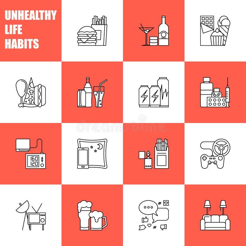 Linha preto e branco ícones dos hábitos do estilo de vida de Unealthy do vetor isolados Pizza rápida do hanburger da cola da comi ilustração do vetor
