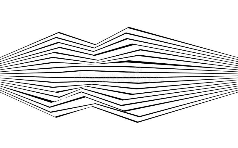 Linha preto e branco arte ótica gráfica da listra do sumário ilustração do vetor