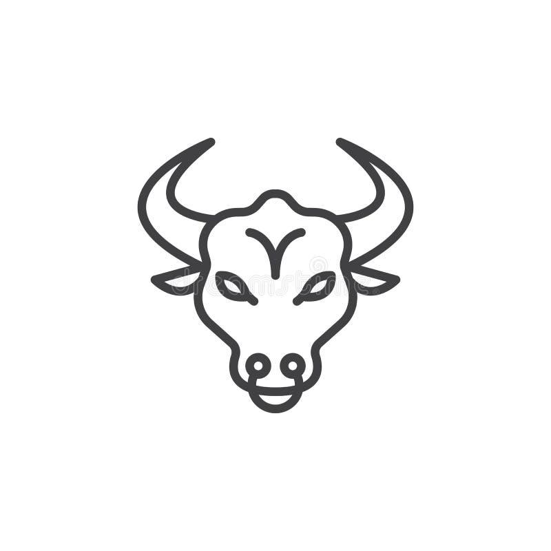Linha principal ícone de Bull, sinal do vetor do esboço ilustração royalty free
