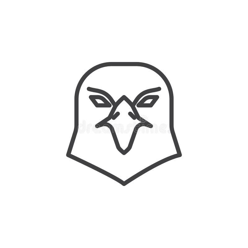 Linha principal ícone de Eagle ilustração stock