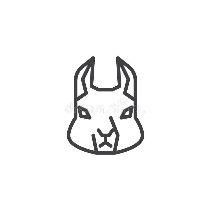 Linha principal ícone do esquilo ilustração stock