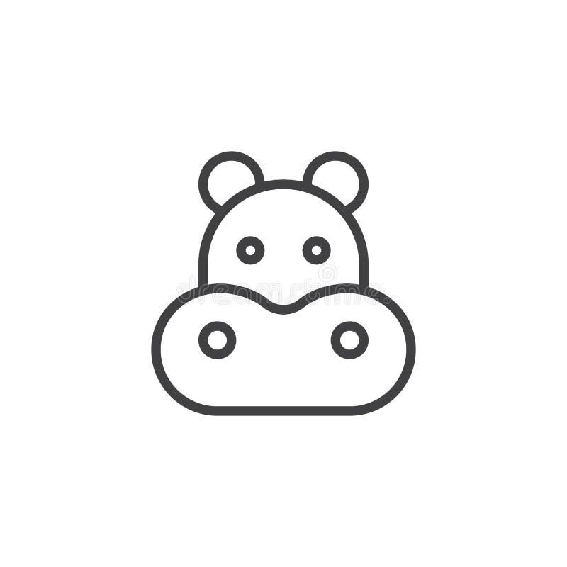 Linha principal ícone do hipopótamo ilustração royalty free