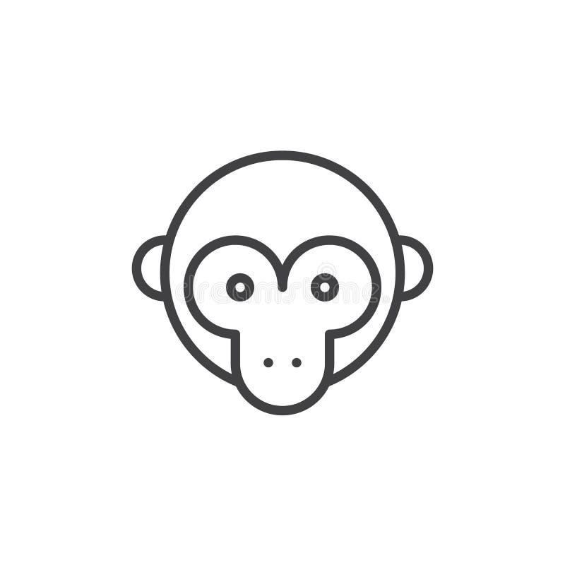 Linha principal ícone do macaco ilustração stock