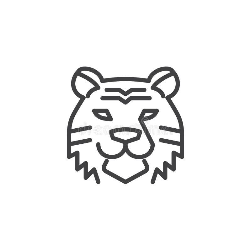 Linha principal ícone do tigre ilustração do vetor