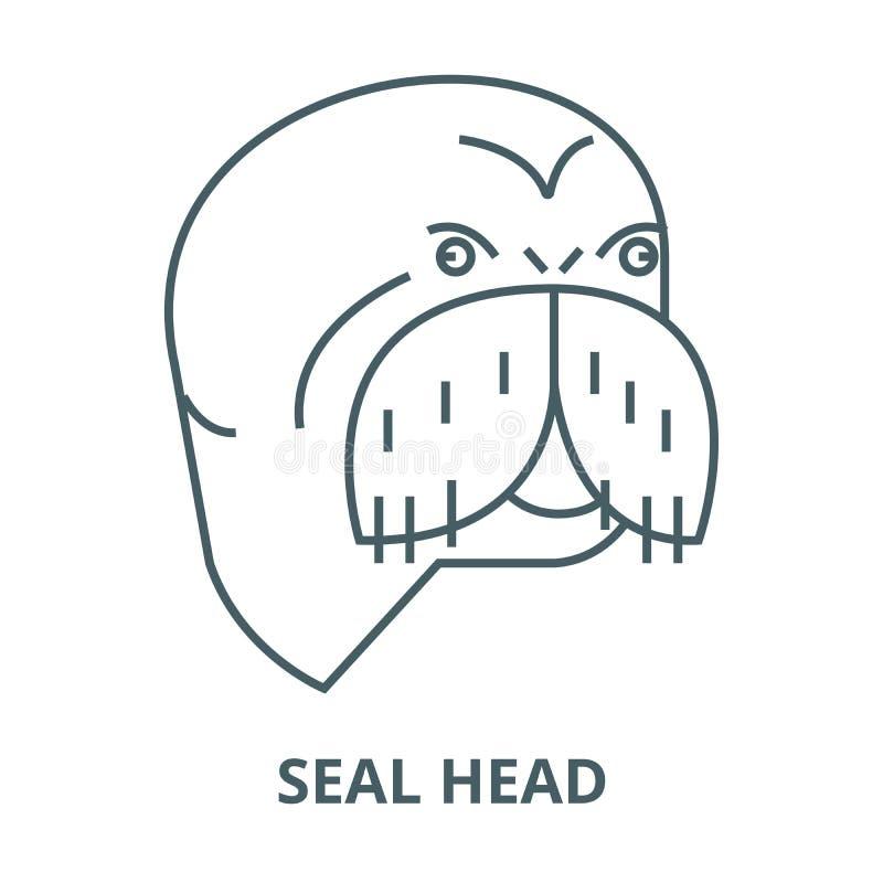 Linha principal ícone do vetor do selo, conceito linear, sinal do esboço, símbolo ilustração do vetor
