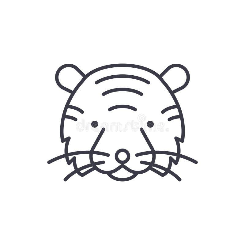 Linha principal ícone do vetor do tigre, sinal, ilustração no fundo, cursos editáveis ilustração royalty free