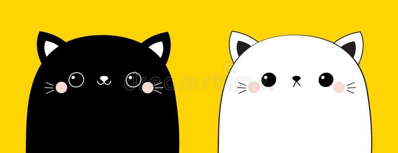 Linha principal grupo da cara do gato preto e branco do ícone da silhueta do contorno O rosa cora mordentes Animal de sorriso do  ilustração royalty free