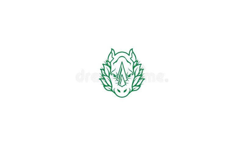 Linha principal vetor do rinoceronte do ícone do logotipo da arte ilustração royalty free