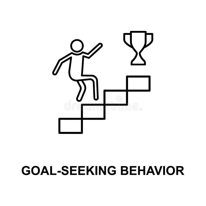 linha procurando ícone do comportamento do objetivo ilustração do vetor