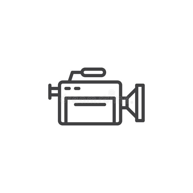 Linha profissional ícone da câmara de vídeo ilustração stock