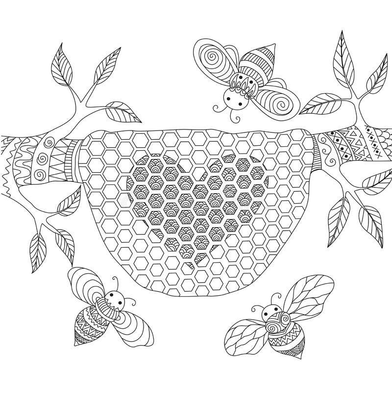 Linha projeto da arte das abelhas do mel que voam em torno da colmeia ilustração royalty free